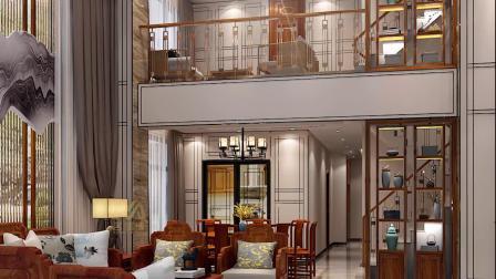 广州小区高端别墅装修设计,豪宅别墅装饰设计效果,新中式风格设计