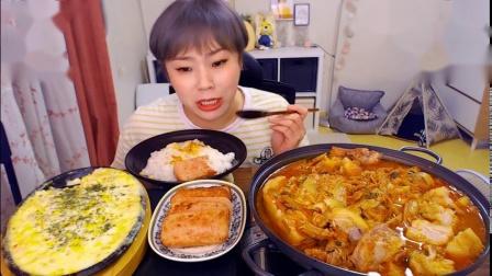 韩国吃播-挑食的新姐-20190828【泡菜五花肉锅、芝士玉米、午餐肉、甜品】-1