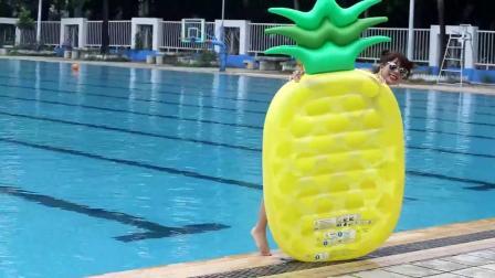 君晓天云网红凤梨浮排游泳圈西瓜彩虹披萨漂浮板浮牀气垫成人水上充气玩具