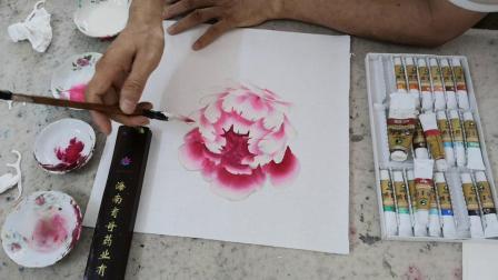 浅粉色暑红牡丹花画法示范1