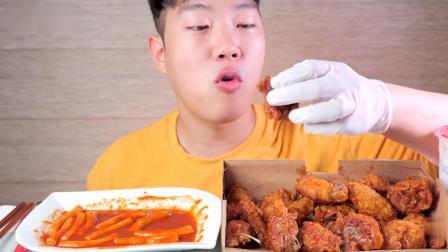 【韩国吃播】【Real Sound】HONG吃炸鸡;炸酱面;安康鱼 - 辣年糕、炸鸡