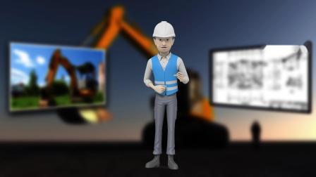 高清视频素材3D卡通人物男工程师建筑施工介绍演讲安全宣传动画带透明通道