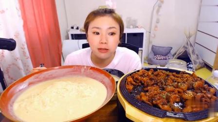 【韩国吃播】挑食的新姐吃吐司;烤大肠 - 烤大肠+芝士