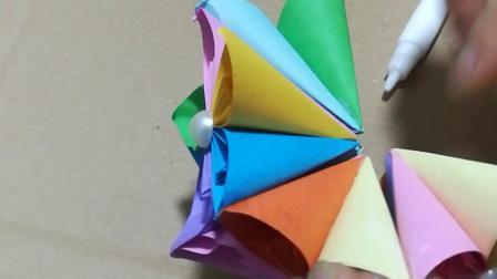 怎么用纸折樱花绣球