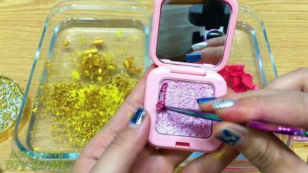 黄金粉色把化妆眼影混入透明的煤泥特别系列83令人满意的粘液视频