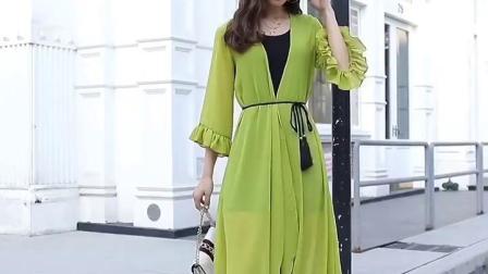 君晓天云批肩夏季配裙子中长版女士吊带外搭开衫超仙冰丝2019新款时尚洋派