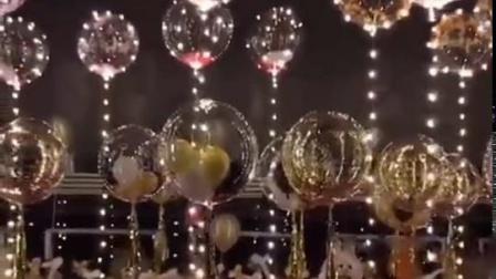 君晓天云透明波波球带灯羽毛球中球生日婚礼耶诞新年布置ins网红抖音气球
