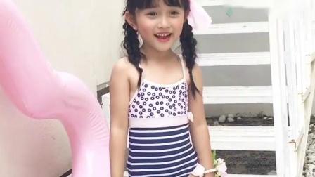 君晓天云2019新款儿童泳衣小中大童彩色蛋糕花朵可爱女孩连身温泉泳装
