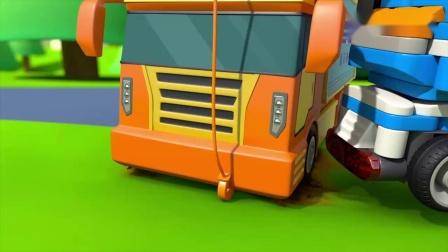 百变布鲁可:布鲁可聪明又有力量!三人合力,终于搞定大货车!