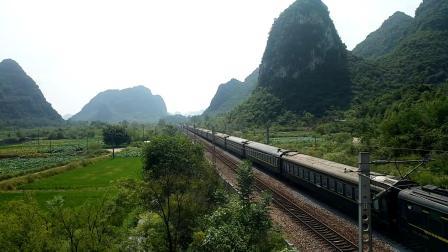 9.7进德湘桂线DF4D牵引K316快速通过K551+030m