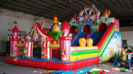 君晓天云小型充气城堡滑梯促销儿童蹦蹦牀室内新款气垫牀宝宝冲关玩具价格