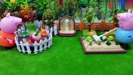 小猪佩奇给妈妈爸爸送去新鲜的水果和美味的蛋糕