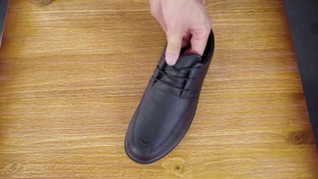 君晓天云黑色皮鞋男低帮防水鞋轻便耐磨厚底防滑板鞋厨房上班工作鞋厨师鞋