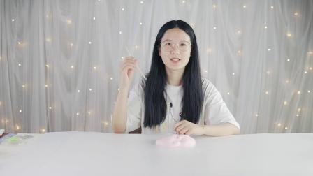 试玩少女心爆棚的草莓牛奶双拼泥,无硼砂炸泡声响,还能吹泡泡!