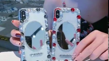 君晓天云网红补妆神器三星S10LITE手机保护壳s9PLUS闪砖石S8青春版镜子高档全包保护套奢华闺蜜仙女款