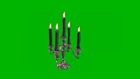 [shijueju.com]绿屏抠像黑色蜡烛台视频素材