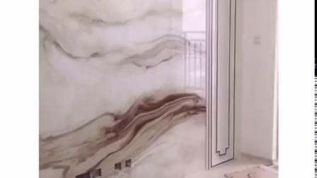 君晓天云电视背景墙瓷砖新中式山水画微晶石大气客厅现代简约轻奢仿大理石