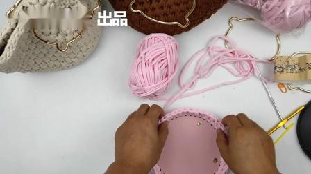 一安生活馆第89集钩针猫儿手提包编织视频手工布条线包编织教程毛线编织简单方法