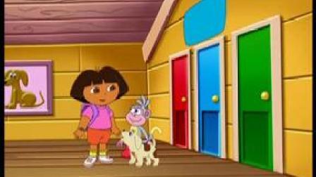 爱探险的朵拉:朵拉抱着小狗,找到狗物屋