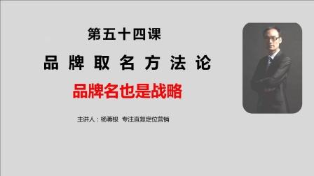杨蒋银:如何取一个好的品牌名字秘笈,让顾客一眼就记住 第54课