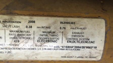 2008年卡特彼勒C18挖掘机发动机