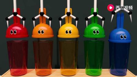 兔耳朵杯子里不同颜色的糖果被吸走了,少儿色彩启蒙