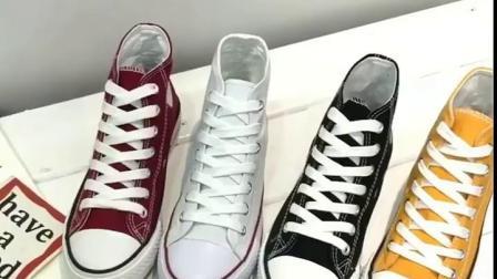 君晓天云学生黑白布鞋女厚底球鞋高腰内增高帆布鞋女鞋高筒休闲红高邦板鞋