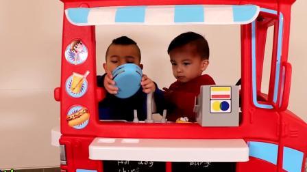 冰淇淋食品车孩子们假装玩CKN玩具烹饪乐趣