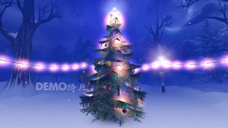 f652 2K画质超唯美圣诞老人雪人圣诞礼物圣诞树彩灯雪地欢乐元旦圣诞节晚会LED舞台背景视频素材