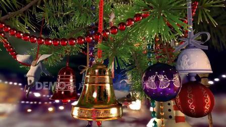 f655 2K画质超唯美圣诞树松树礼物彩灯彩球旋转木马卡通元旦儿童节毕业晚会LED舞台背景视频素材