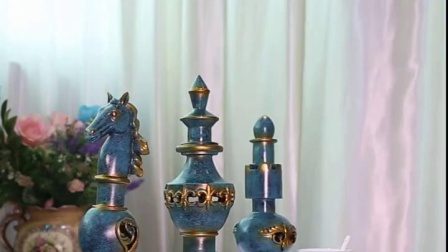 君晓天云欧式复古装饰品客厅工艺礼品摆饰国际象棋摆件创意设计师棋子摆设艺术品