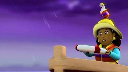 汪汪队:路马想把救生圈射过去,可风太强了,把求生圈给吹走了!