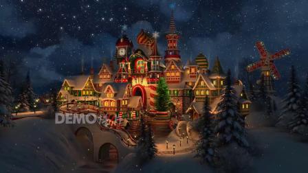 f870 2K高清画质卡通城堡梦幻雪夜圣诞节儿童情景剧幼儿园文艺汇演晚会演出节目舞台LED视频背景