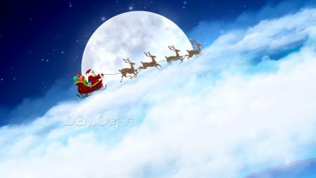 f979 唯美大月亮夜色驯鹿麋鹿驮着圣诞老人礼物奔跑在云层之上圣诞节日歌舞演出舞台LED视频