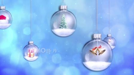 f991 唯美3D质感玻璃球水晶球圣诞球里面放着圣诞礼物节目舞台动态LED视频素材