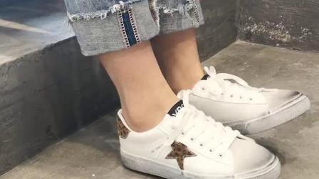 君晓天云小白鞋女2019新款百搭韩版学生网红星星小髒鞋复古chic平底板鞋潮