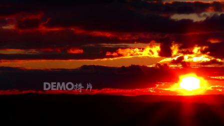 E26 2K高清画质日落夕阳黄昏太阳下山实拍视频素材火烧云夕阳西下天空金色云彩变化视频素材