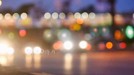 E38 城市夜晚灯火辉煌朦胧灯光光晕夜色交通车流实拍视频素材