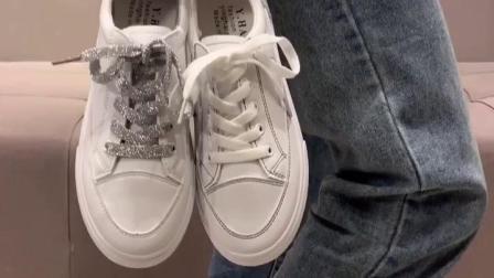 君晓天云2019春款夏款百搭基础小白鞋女洋派平底板鞋皮面学生夏季透气白鞋