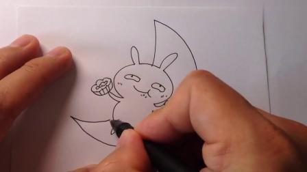 中秋节简笔画,兔子在月亮上吃月饼