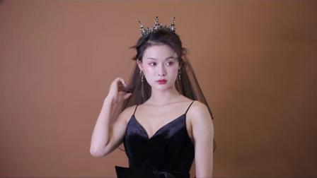 君晓天云皇冠头饰黑色头纱复古女王範欧美王冠生日十八岁成年礼物网红同款