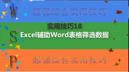 Excel辅助Word表格筛选数据