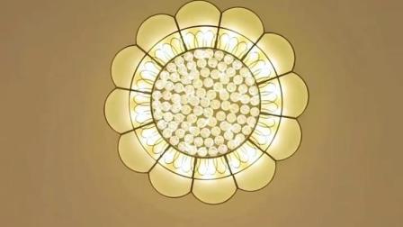 君晓天云欧式全铜吸顶灯圆形美式客厅水晶灯简欧饭厅铜灯简约轻奢卧室灯具