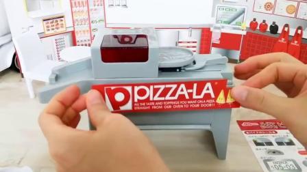 芭比娃娃的披萨店玩具拆装,还有外卖车可以送外卖哦!