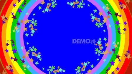儿童节 幼儿园 c161唯美卡通彩色五角星彩虹圆形六一儿童节幼儿园少儿表演晚会舞台演出LED大屏幕背景视频素材 LED背景视频 晚会演出