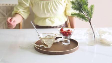 君晓天云亿嘉锤目纹金边玻璃甜品碗小号冰激凌碗高脚冰沙碗 家用饭碗单个