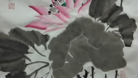 当代国画家徐鹤原创中国画大写意荷花作品《在水一方》