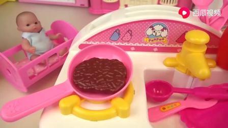 儿童早教动画,益智玩具游戏,小萌娃煎牛排准备做汉堡包