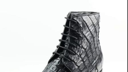 君晓天云精品订製何金昌内增高男鞋男士皮靴短靴鳄鱼皮马丁靴隐形增高7cm