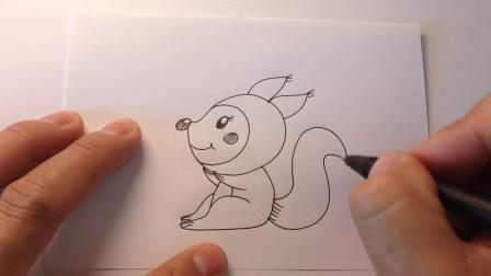 可爱小动物简笔画.小松鼠